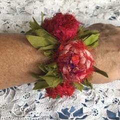 Recycled silk boho flower cuff bracelet