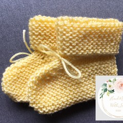 Baby Booties 6-9 Months - Knitted - Free Shipping