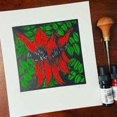 Australian Wildflowers - Sturt Desert Pea Ed. of 25 - Linoprint and Watercolour