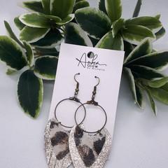 """""""Coco"""" Genuine Leather Hoop Earrings, Bronze/ Leopard Print"""