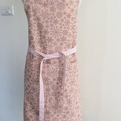 Cotton Drill Apron & Pot Holder - Gold Snowflakes on Dusky Pink