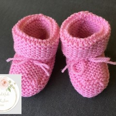 Baby Booties 9-12 Months - Knitted - Free Shipping