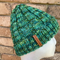Green knitted beanie child or petite ladies size merino
