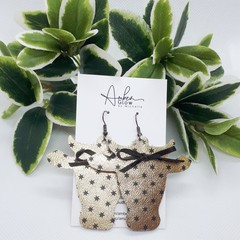 """Daisy"" Cow, Genuine Leather Earrings Gold/ Black"