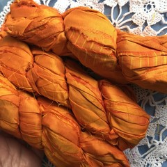 Recycled silk ribbon orange 100 grams