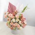 Pink Artificial Flower Arrangement with Palm Leaf - Christmas Gift for Mum