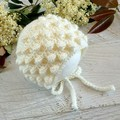 NEWBORN Cream/Off White Crochet Baby Bobble Bonnet Beanie Hat 0-1 month
