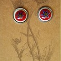 Red White and Blue Millefiori Studs
