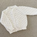 White Cardigan - Size 0-3 months - Cotton blend - Hand knitted