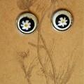 Dark Blue White and Yellow Enamel Stud Earrings