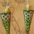 Green Arrow Enamel Earrings