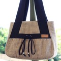 Hessian and canvas tote bag