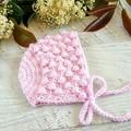 Pink Crochet Newborn Baby Bobble Bonnet Beanie Hat 0-3 months