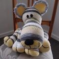 Conrad: hand crocheted Lion cub by CuddleCorner: OOAK, white/yellow/grey