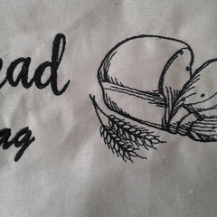 Calico Bread Bag with embroidered motif. Great for environment. Fantastic gift.