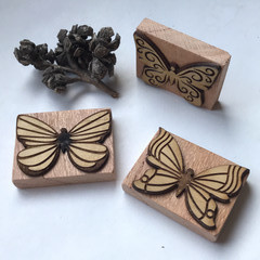 Toys of Wood - Natural wooden Butterfly stamp set of three