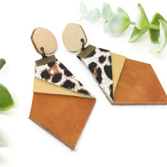 Leopard print Leather earrings with sunburst highlights