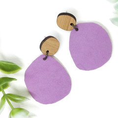 Violet Suede Leather earrings with peach leather