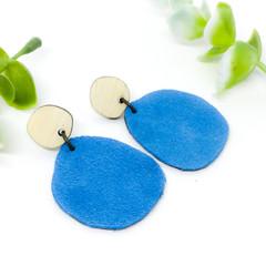 Blue suede Leather earrings