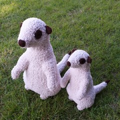 Meerkat soft toy, larger size. Handmade knitted African animal softie