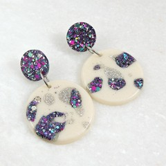 Glitter drop dangles - black mix
