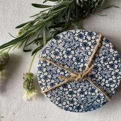 White and Blue Daisy with Stars Porcelain Coasters