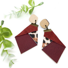 Burgundy suede leather earrings with Leopard print Leather feature