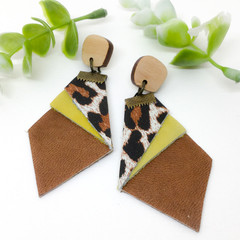 Caramel Leather earrings with Leopard print Leather, repurposed leather