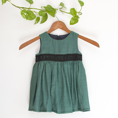 (RESERVED FOR LINDA)Eco CottonSilk Green Toddler Dress