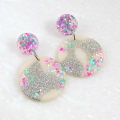 Glitter drop dangles - pink & green mix