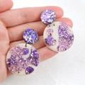 Glitter drop dangles - purple mix