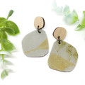 Eco dyed Leather earrings in natural green tones