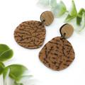 Speckled Caramel Leather earrings, leather jacket earrings