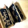 Handmade Artist Book, Stitched Paperbark Cover with Original Cyanotype Artworks