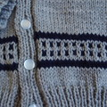 SIZE 5  - Hand knitted cardigan in light grey and dark blue by CuddleCorner