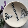 Cute textured Blue Triangle Porcelain Bowl