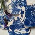 Blue and white Circles Porcelain Coasters
