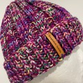 Pink knitted merino beanie rainbow  hand knitted PomPom optional