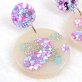 Glitter drop dangles - lilac & blue mix