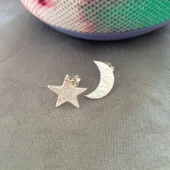 Recycled Silver 'Star & Moon' earring studs