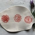 Unique and Beautiful Mandala Red Flowers Porcelain Platter
