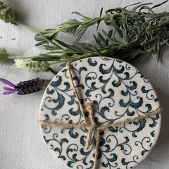 Lovely Blue Florentine Porcelain Coasters
