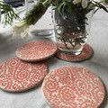 Red Paisley Porcelain Coasters