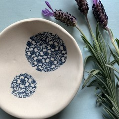 One Of A Kind Textured Blue Circles Porcelain Bowl