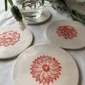 Unique Bright Red Mandala Flower Porcelain Coasters (Set of 4)