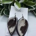 Genuine Cowhide, Pinched  Petal Earrings, Brown/ White