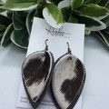Pinched  Petal, Genuine Leather/Cowhide  Earrings, Brown/ White