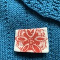 Unique Red Flower Square Porcelain Brooch