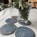 Rich White and Blue Daisy Porcelain Coasters