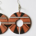 Hand Painted Wooden Rust Black White Statement Boho Earrings